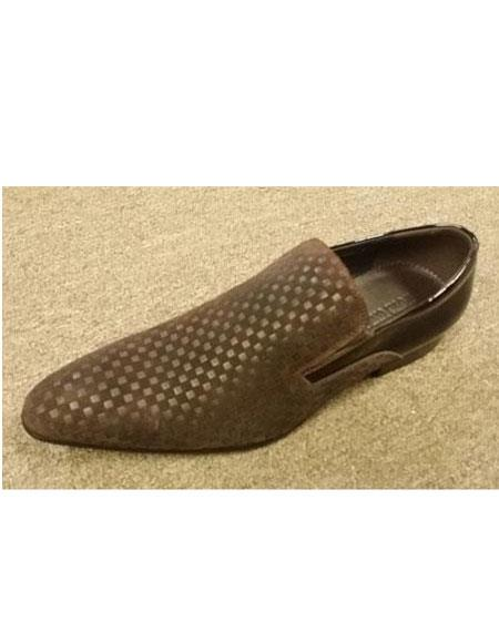 Mens Mini Checkered Pattern Long Toe Brown Leather Suede Slip On Shoe