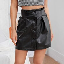 Frill Trim Fold Pleat Button Front PU Leather Skirt