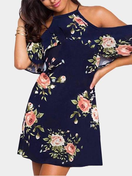 Yoins Black Cold Shoulder Random Floral Print Overlay Mini Dress