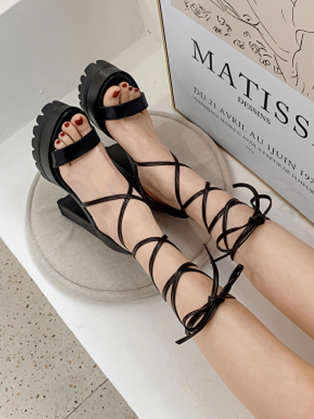 Milanoo Women Sexy High Heels Chunky Lace Up Black Square Toe Sexy Shoes