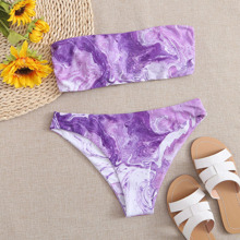 Marble Print Bandeau Bikini Swimsuit