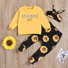 Sweatshirt mit Sonnenblumen, Buchstaben Grafik & Jogginghose & Stirnband