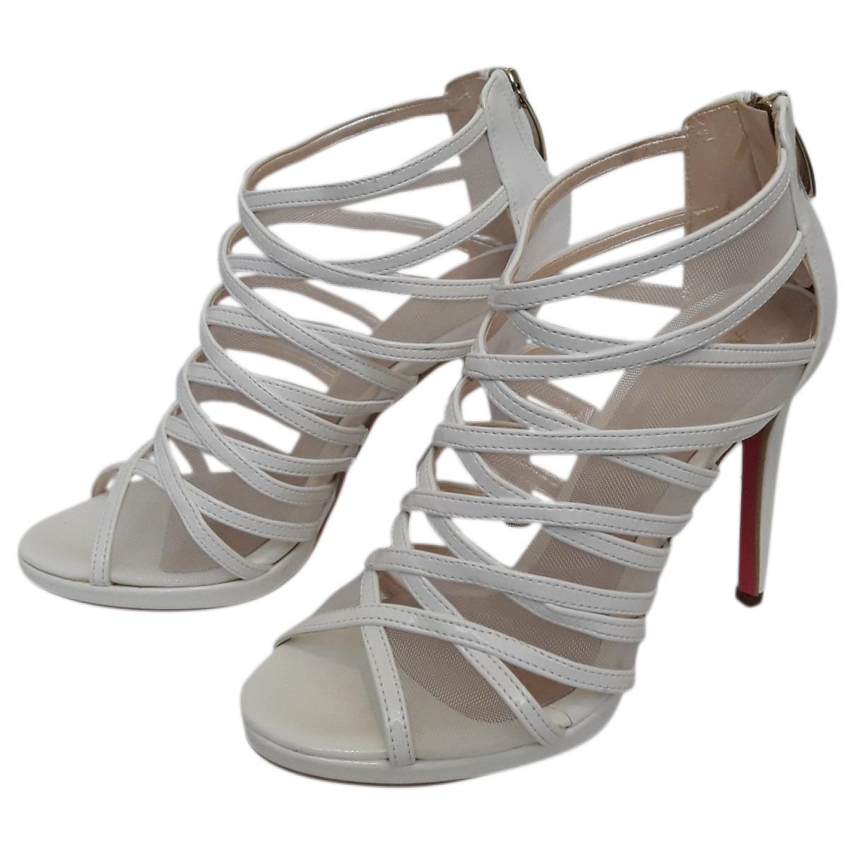 - Sandales   pour femme en cuir - blanc