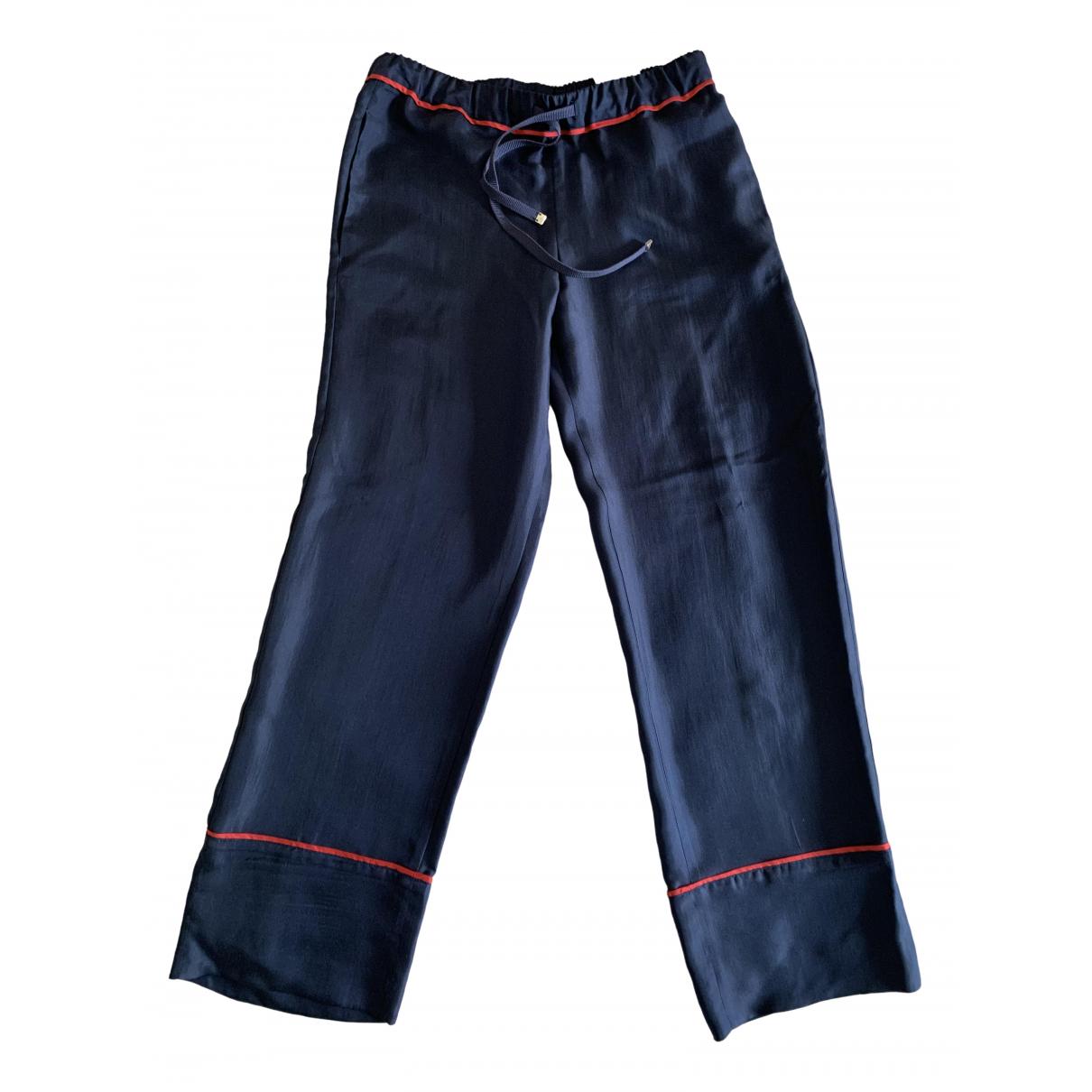 Moncler \N Blue Silk Trousers for Women 38 IT