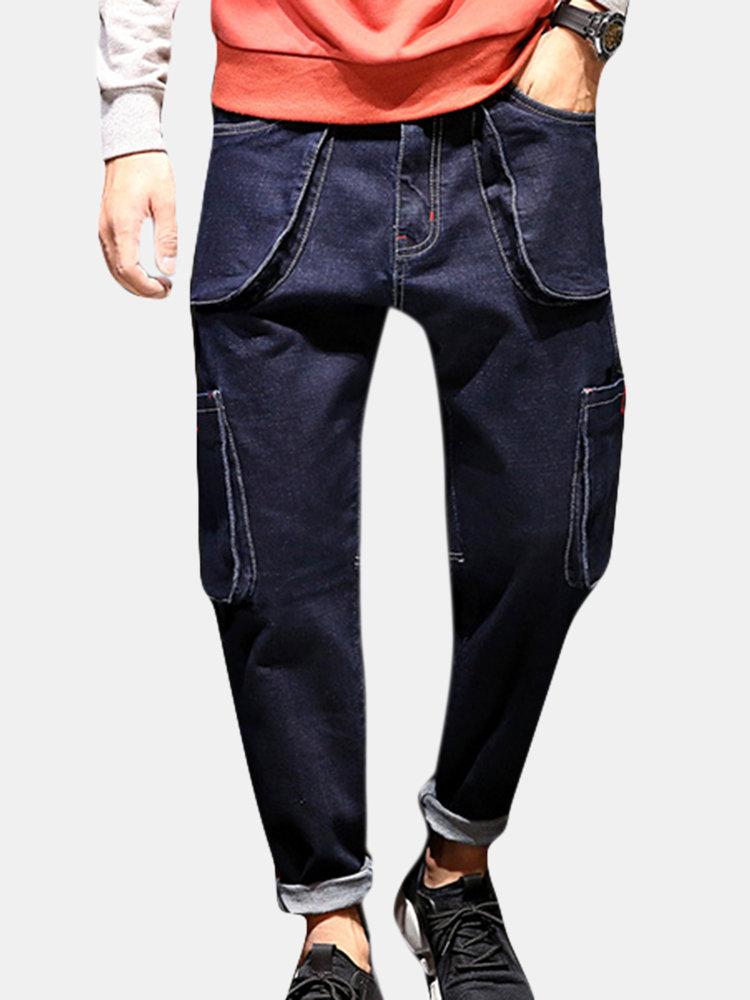 Straight Harlan Hip Hop Muiti Big Pockets Jeans