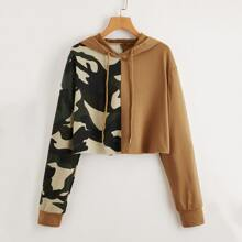 Colorblock Camo Print Cropped Hoodie