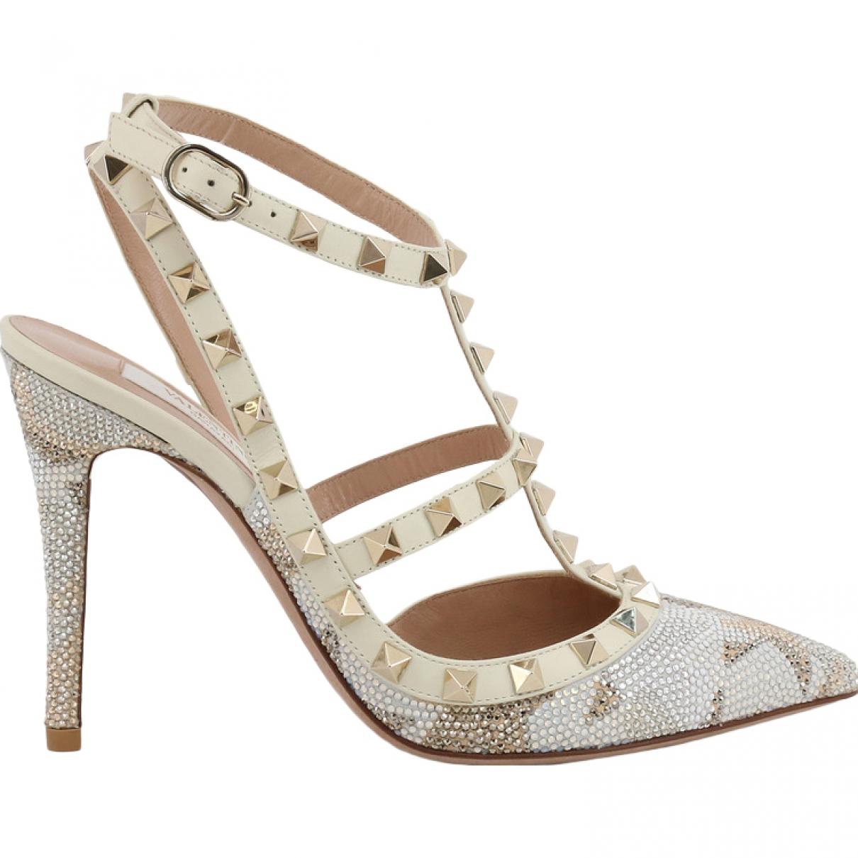 Valentino Garavani Rockstud Beige Glitter Heels for Women 39 EU