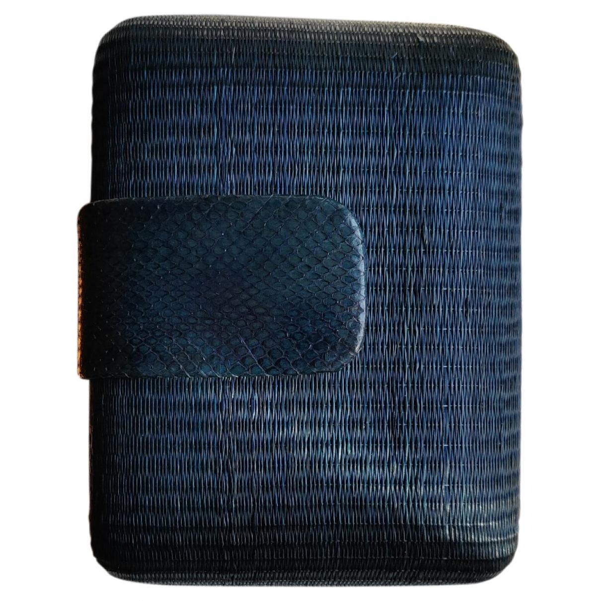 - Petite maroquinerie   pour femme en paille - bleu