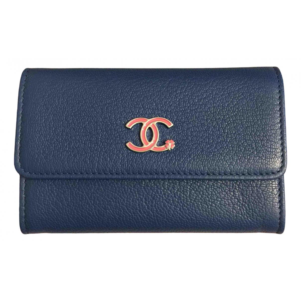 Chanel - Portefeuille   pour femme en cuir - bleu