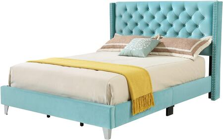 Victa Collection G1923-QB-UP Queen Size Bed with Velvet Like Cover  Nail Head Trim and Wood Front Leg in Ocean