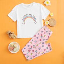 Girls Letter Graphic Rainbow Top & Pants PJ Set