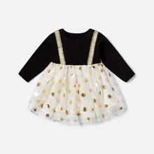 Vestidos para niña pequeña Malla en contraste Lunares Dulce