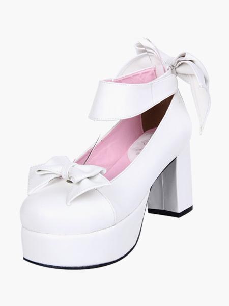 Milanoo Blanco Lolita Tacones Gruesos Zapatos Plataforma Tobillo Tirantes Lazos