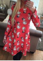 Christmas Snowman Pattern Printed Long Sleeve Dress