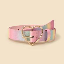 Heart Buckle Rainbow Belt