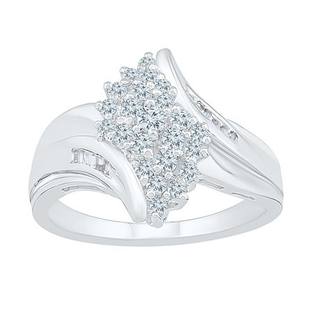 Womens 1/2 CT. T.W. Genuine White Diamond 10K White Gold Cluster Cocktail Ring, 8 , No Color Family