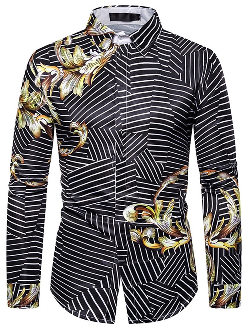 Ericdress Lapel Stripe Color Block Button Men's Slim Shirt