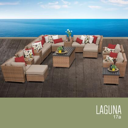 LAGUNA-17a-WHEAT Laguna 17 Piece Outdoor Wicker Patio Furniture Set 17a with 2 Covers: Wheat and