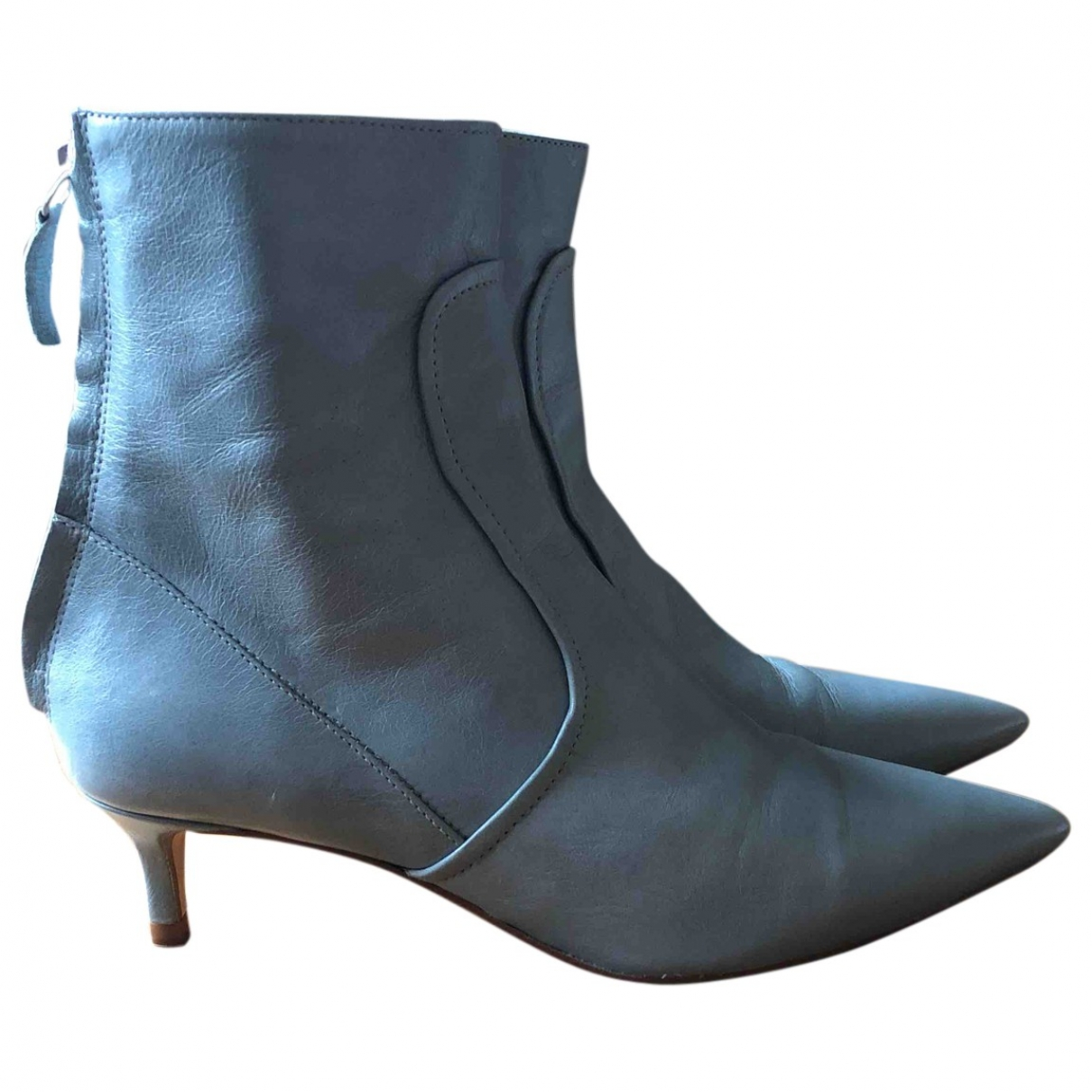 Zara \N Blue Leather Ankle boots for Women 35 EU