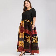 Maxi Kleid mit Grafik Muster und versteckten Taschen