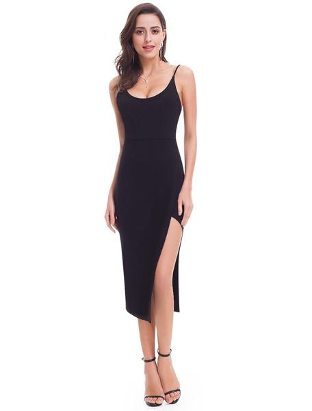 Milanoo Black Cocktail Dresses Sheath High Split Evening Dresses Sexy Straps Tea Length Formal Party Dress