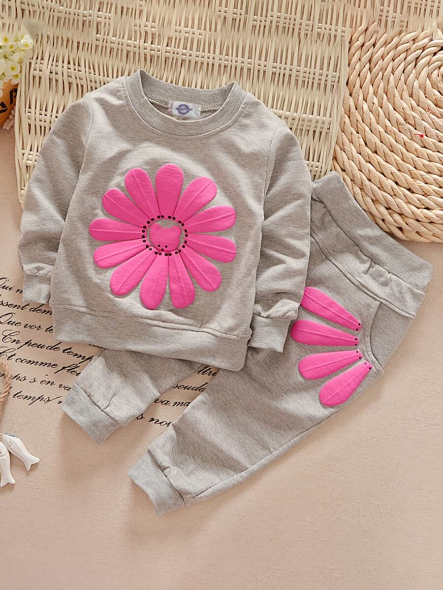 LW Lovely Sportswear O Neck Print Grey Girl Two-piece Pants Set