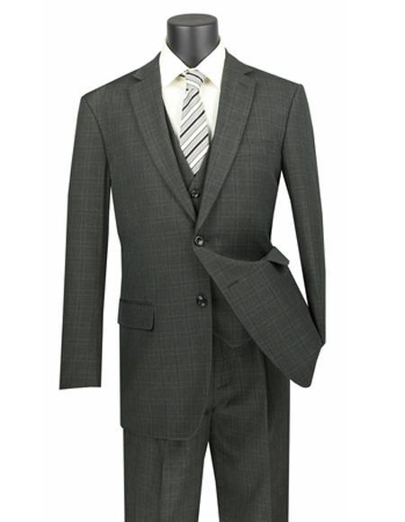 Plaid ~ Window Pane 2 button Vested 3 Piece Suit Regular Fit Olive