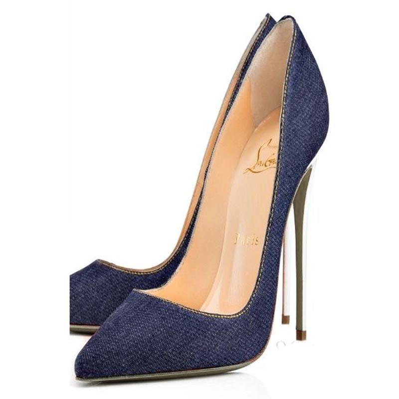 Ericdress Blue Pointed Toe Stiletto Heel Pumps
