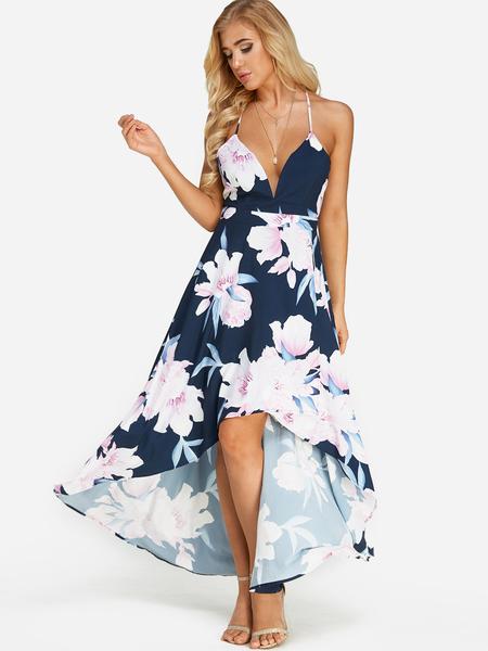 Yoins Random Floral Print Backless Design Deep V Neck Sleeveless Maxi Dress