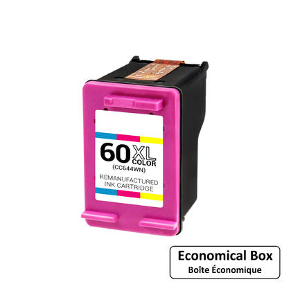Remanufactured HP 60XL CC644WN Color Ink Cartridge High Yield - Economical Box