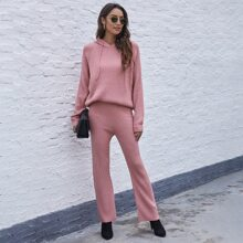 Raglan Sleeve Drawstring Hooded Sweater With Knit Pants
