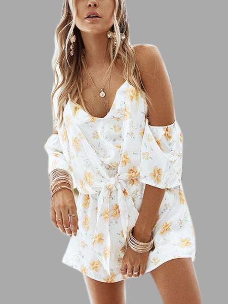 Yoins Fashion V Neck Backless Random Floral Print Calico Strappy Playsuit