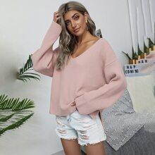 Drop Shoulder Tie Back Slit Hem Sweater