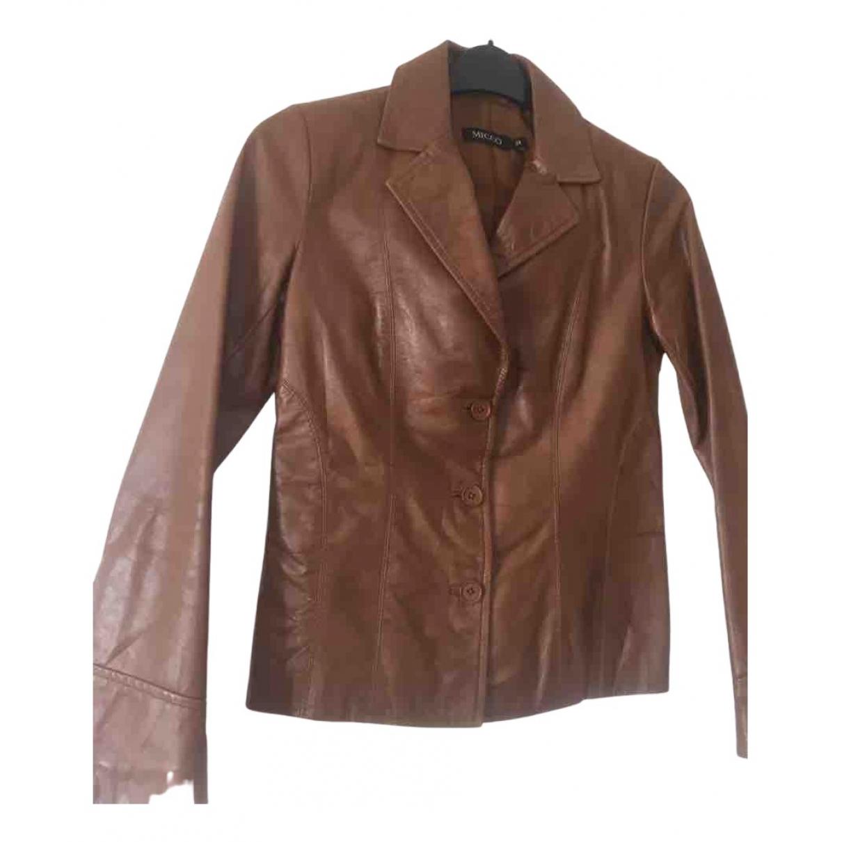 Mico - Veste   pour femme en cuir - marron