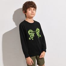 Boys Letter and Dragon Print Pullover