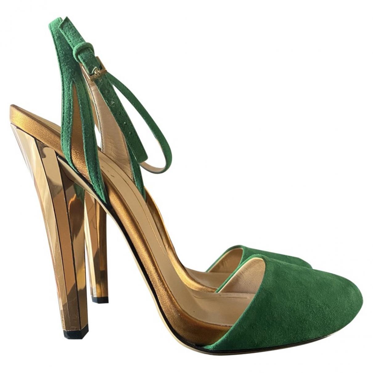 Gucci - Sandales   pour femme en suede - vert