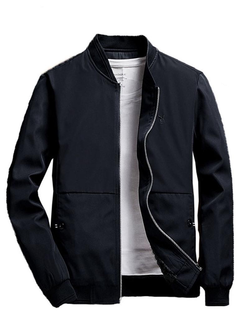 Ericdress Stand Collar Patchwork Plain Slim Zipper Jacket
