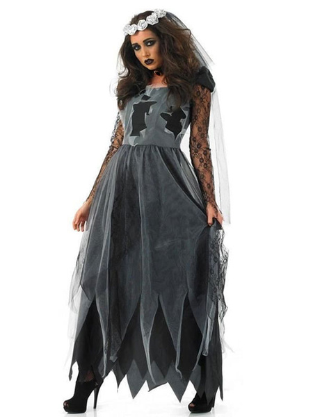 Milanoo Disfraz de novia cadaver Halloween Negro Vestidos de mujer Gargantilla velo 3 piezas