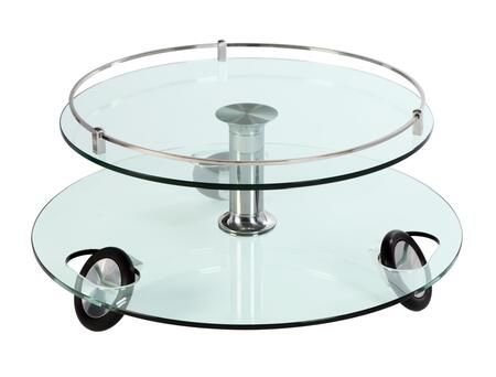 8178-CT Glass/Chrome Swivel Top Stationary Wheels Cocktail