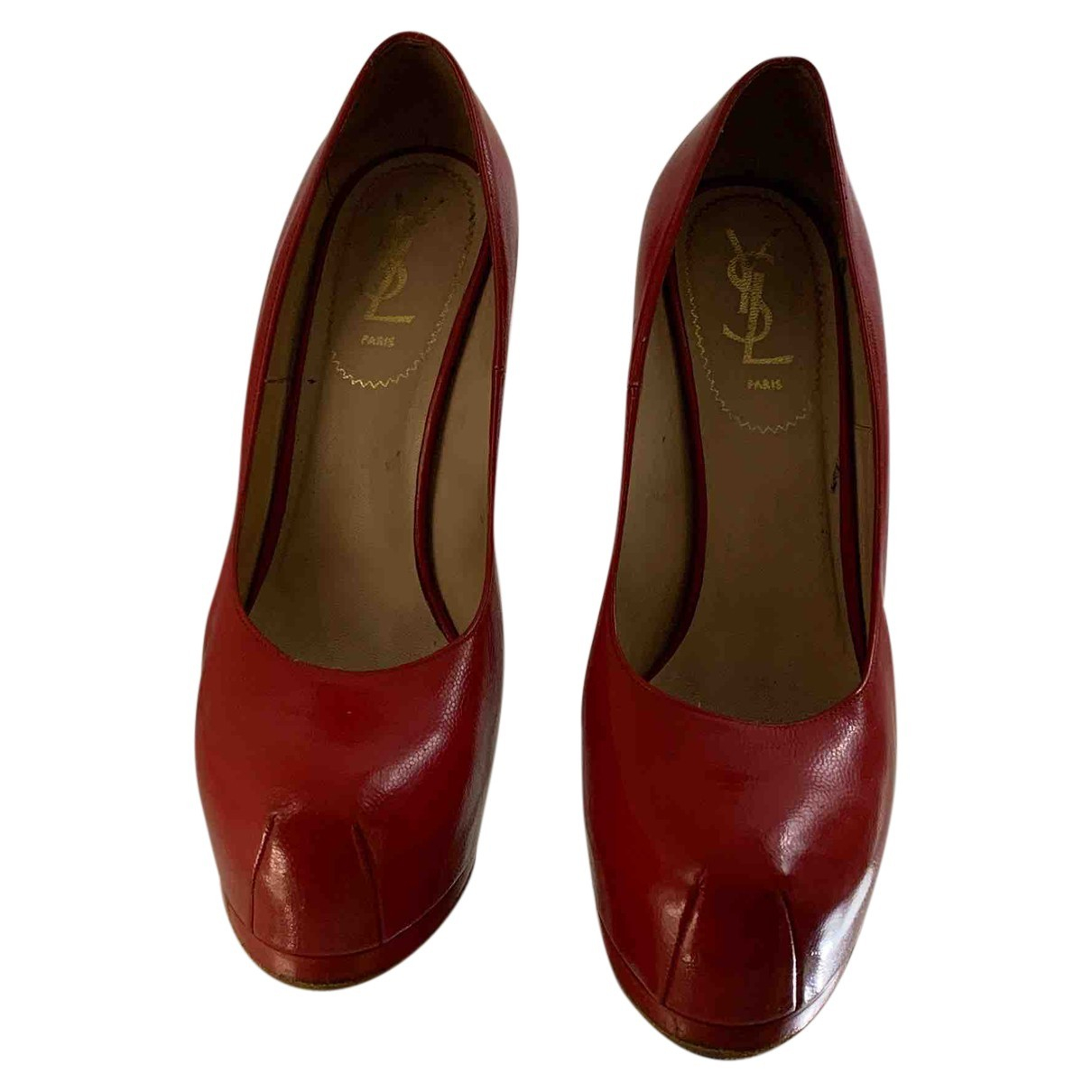 Yves Saint Laurent Trib Too Red Leather Heels for Women 39.5 EU