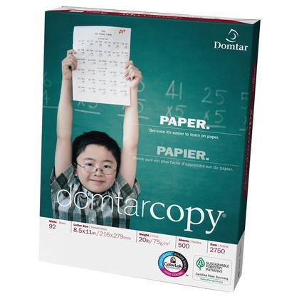 DomtarCopy® Papier à copies, 20 lbs, Brillance de 92, Lettre - 3 Trous Perforés, Paquet/500 Feuilles