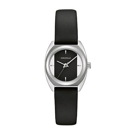 Caravelle Designed By Bulova Womens Black Leather Strap Watch-43l220, One Size , No Color Family