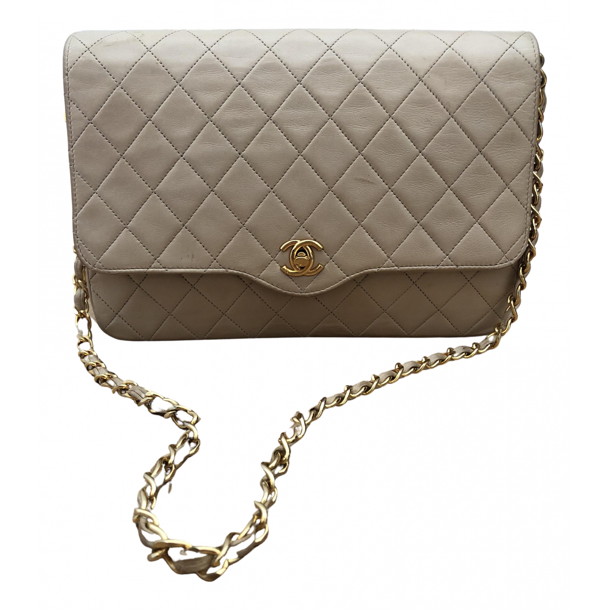 Chanel Timeless/Classique Clutch in  Beige Leder