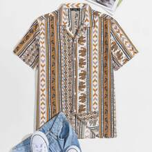 Vielfarbig Folkloristisch Urlaub Maenner Hemden