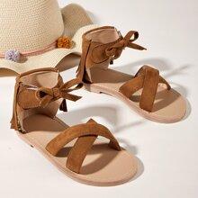 Toddler Girls Bow & Fringe Decor Sandals