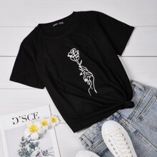 Floral & Hand Print Tee