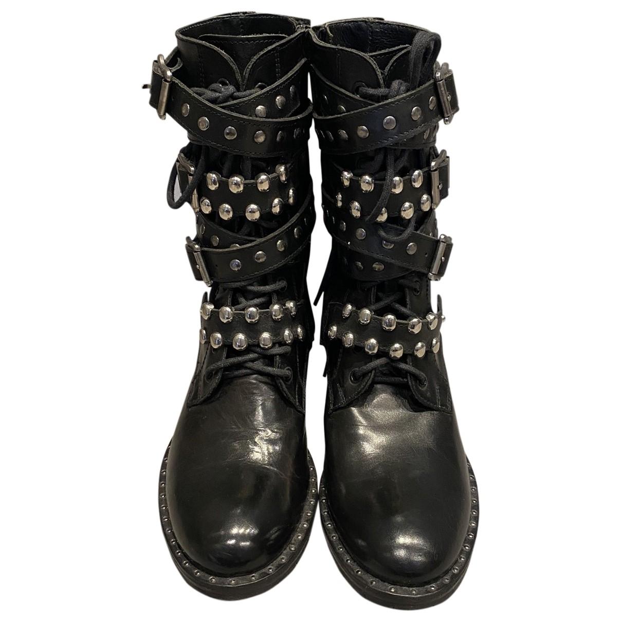 Pinko - Bottes   pour femme en cuir - noir