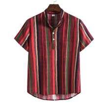 Men Vertical Striped Half Button Shirt