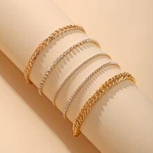 5 piezas pulsera con diamante de imitacion