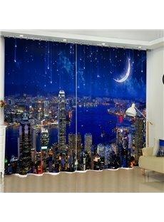 3D Modern City Night Scenery with Blue Sky Printed Custom Living Room Curtain